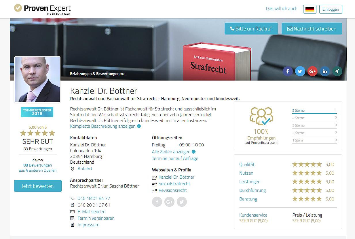 Bewertungen für Rechtsanwalt Dr. Böttner - Strafverteidiger und Fachanwalt für Strafrecht